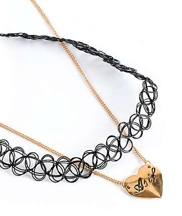 Stone + Locket Tattoo Choker & Heart Pendant Necklaces