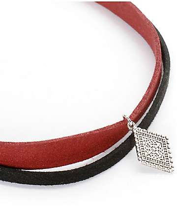 Stone + Locket Velvet Burgundy Diamond Choker Set