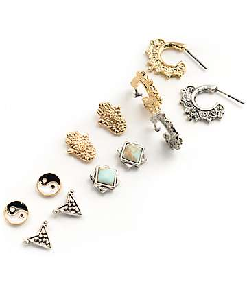 Stone + Locket Yin Yang, Hamsa & Mini Hoop Multipack Earrings