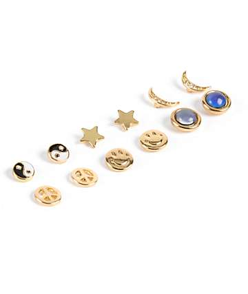 Stone + Locket Yin Yang & Smiley Multipack Stud Earrings