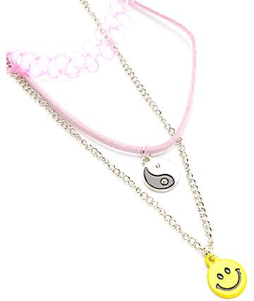 Stone + Locket Yin Yang Baby Pink Chocker Necklaces