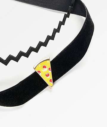 Stone + Locket Zig Zag Pizza Black Choker