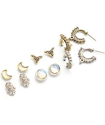 Stone + Lockett 6 Pack Moon, Triangle & Mini Hoop Multipack Earrings