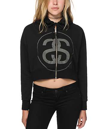 Stussy 3M Big Link Crop Zip Up Hoodie