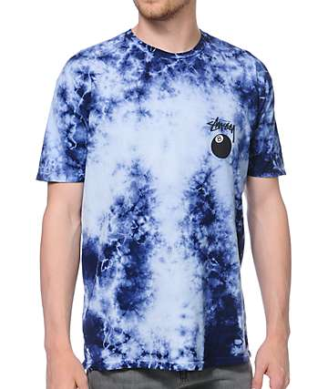 Stussy 8 Ball Blue and Black Tie Dye T-Shirt