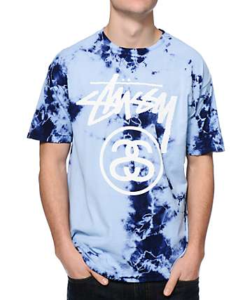 Stussy Storm Stock Link Blue Tie Dye T-Shirt