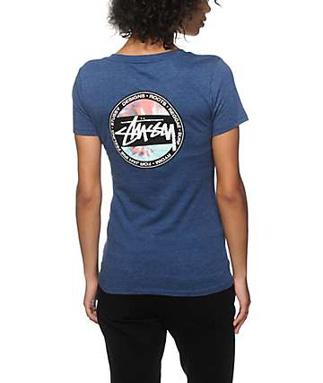 Stussy Tie Dye Dot Back V-Neck T-Shirt