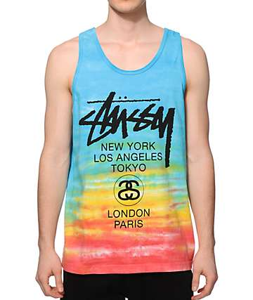 Stussy Tie Dye World Tour Tank Top
