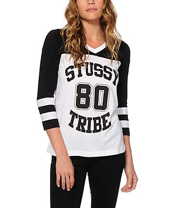 Stussy Tribe Hockey V-Neck T-Shirt