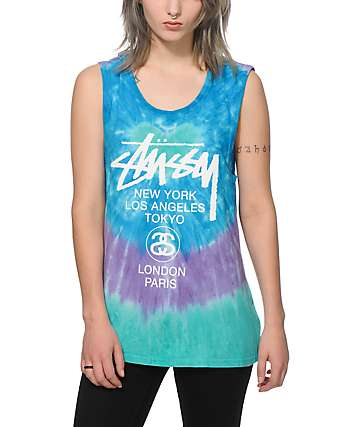 Stussy White Circle Tie Dye Muscle Tee