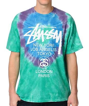 Stussy White Circles Aqua Tie Dye T-Shirt