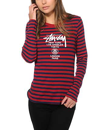 Stussy World Tour Burgundy Stripe Long Sleeve T-Shirt