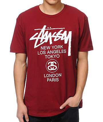 Stussy World Tour Burgundy T-Shirt