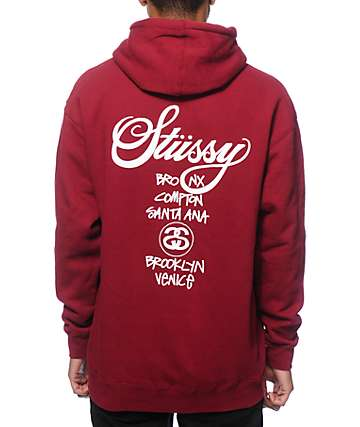 Stussy World Tour Dark Red Hoodie