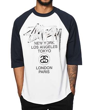 Stussy World Tour Drip Baseball T-Shirt
