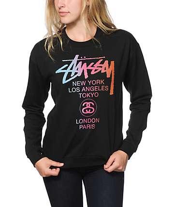 Stussy World Tour Fade Black Crew Neck Sweatshirt