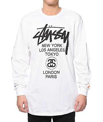 Stussy World Tour Flags Long Sleeve T-Shirt
