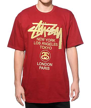 Stussy World Tour Gold T-Shirt