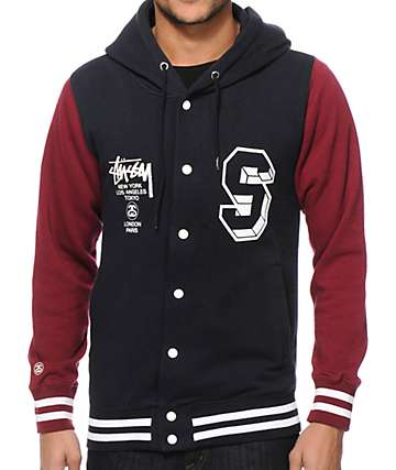 Stussy World Tour Hooded Varsity Jacket