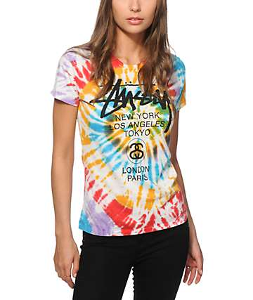 Stussy World Tour Tie Dye Swirl T-Shirt