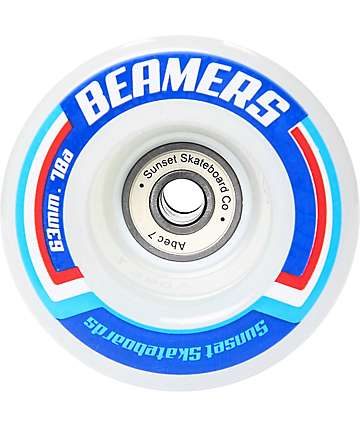 Sunset Beamers 63mm LED ruedas cruiser en blanco