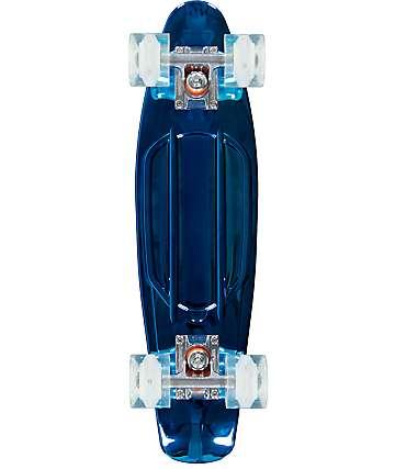"""Sunset Chrome Blue 22"""" Cruiser Complete Skateboard"""