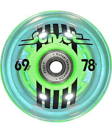 Sunset Flare Green 69mm LED Longboard Wheels
