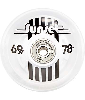 Sunset Flare White 69mm LED Longboard Wheels