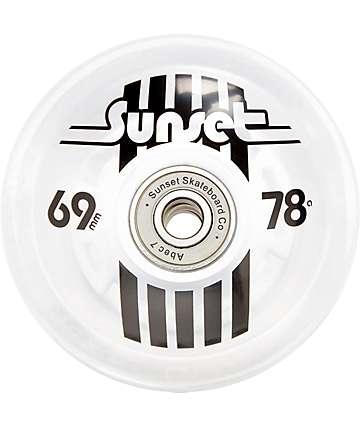 Sunset Flare White 69mm LED Longboard Wheels