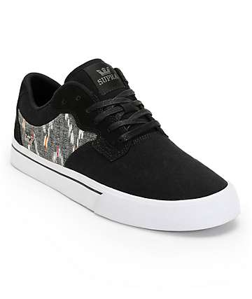 Supra Axle Black, Desert, & White Canvas Skate Shoes