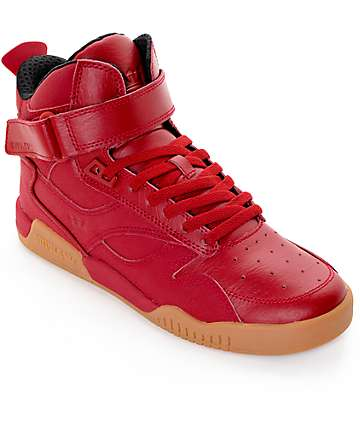 Supra Bleeker Red & Gum Leather Skate Shoes