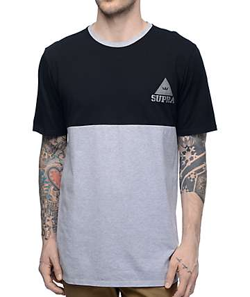 Supra Block Heather Grey & Black T-Shirt