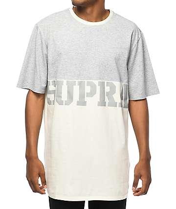 Supra Block camiseta en gris y blanco