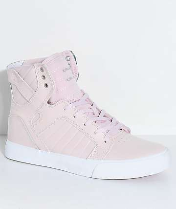 Supra Boys Skytop Mauve Leather Skate Shoes