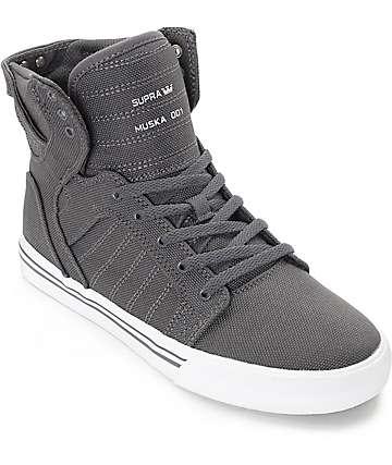 Supra Boys Skytop zapatos de skate en lona gris y blanco