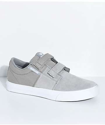 Supra Boys Stacks II Grey, White, Hook & Loop Fastened Skate Shoes