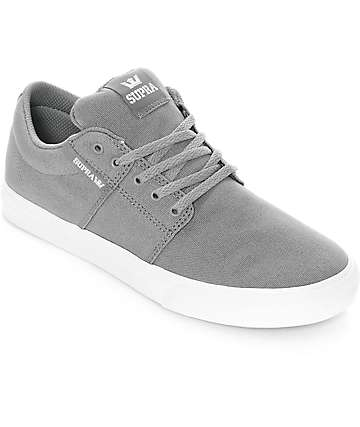 Supra Boys Stacks II Vulc Grey & White Canvas Skate Shoes