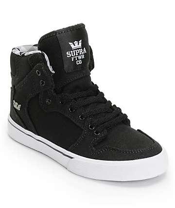 Supra Boys Vaider Black & White Skate Shoes