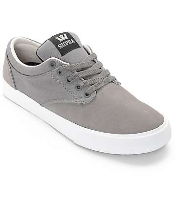 Supra Chino Magnet White Suede & Canvas Skate Shoes