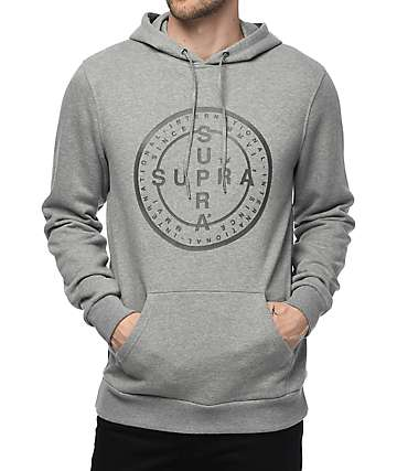 Supra Cross Seal Grey Fleece Hoodie