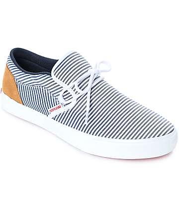 Supra Cuba zapatos de skate a rayas en blanco y azul marino