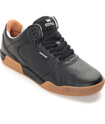 Supra Ellington Black & Gum Leather Skate Shoes