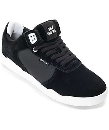 Supra Ellington Black & White Suede Skate Shoes