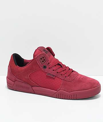 Supra Ellington Brick & Ruby Red Perforated Suede Skate Shoes