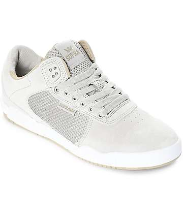 Supra Ellington Off White & Light Grey Skate Shoes