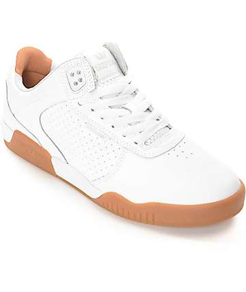 Supra Ellington White & Gum Leather Skate Shoes