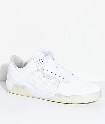 Supra Ellington White & Ice Perforated Nubuck Skate Shoes