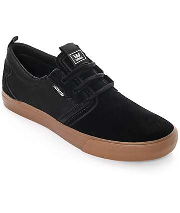 Supra Flow Black & Gum Suede Skate Shoes