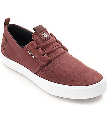 Supra Flow Burgundy & White Skate Shoes
