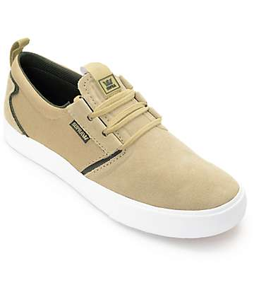 Supra Flow Khaki, Olive & White Suede Skate Shoes